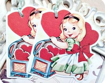 Vintage Girl Valentine Gift Tags (6) Retro Valentine-School Valentine-Favor Tags-Treat Bag Tags-Classroom Valentine-Valentine Die Cut