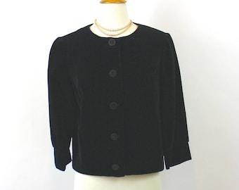 Vintage 70s Jacket Short Black Velveteen Jacket by Majestic Button Front 3/4 Length Sleeves Bust 38