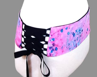 Pink Belly Dance Belt / Hot Pink Purple and Turquoise Batik Reversible Corset Style Lace Up Hip Belt /  Shaped to Fit Your Hips / Dance Belt