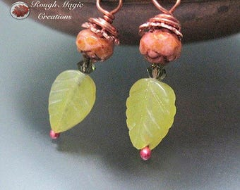 Spring Green Earrings, New Jade Gemstone Leaves, Floral Czech Glass Roses, Serpentine Olive Jade Stone, Copper Wires, Swarovski Crystal E341