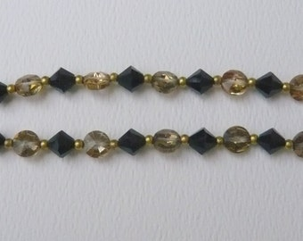 Vintage Black and Gold Double Strand Bracelet