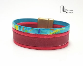 Leather Bracelet, Ladies Bracelet, Women Bracelet, Bracelet To Wrap, Multicolor Leather Wristband, Boho Chic Bracelet. Special Gift