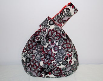 Japanese Knot Bag/knitting bag   Black and White paisley