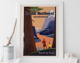 Vintage Art Deco Giclee Poster Print PACIFIC NORTHWEST TRAVEL High Quality Frame-Ready Ikea Ribba Size