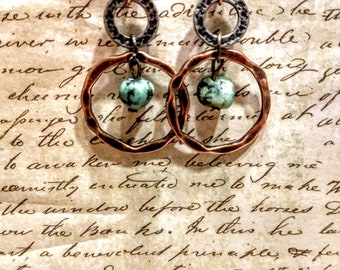 African Turquoise hoops