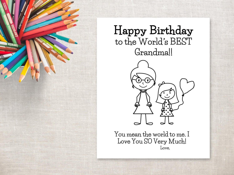 Para colorear de cumpleaños para imprimir niña y abuela