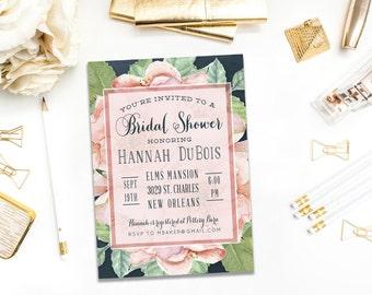 Bridal Shower Invitation - 5x7 Printable Invitation -  Floral Bouquet Bridal Shower - Roses - Bridal Brunch