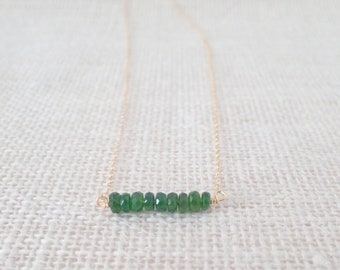 Chrome Diopside Bar Necklace, Gold Or Silver, Chrome Diopside Necklace, Gemstone Bar Necklace, Layering Necklace, Green Necklace