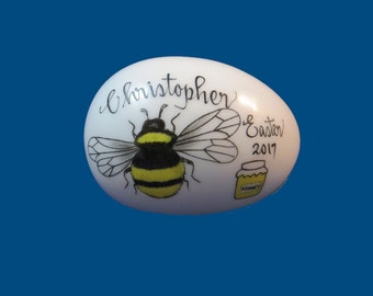 Personalized Hand Painted Porcelain Easter Egg with Bumblebee-Easter Gift