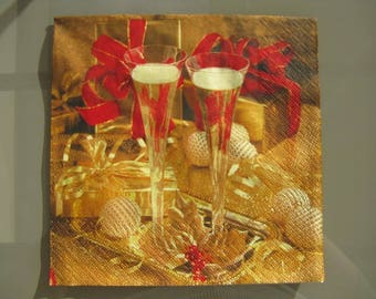 set of 2 napkins papierserviette paper duo champagne goblets