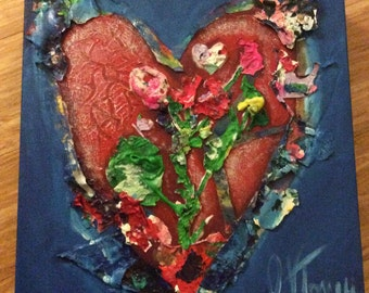 "Blooming Heart - 12"" x 12"" Original Painting - Acrylic on Canvas"