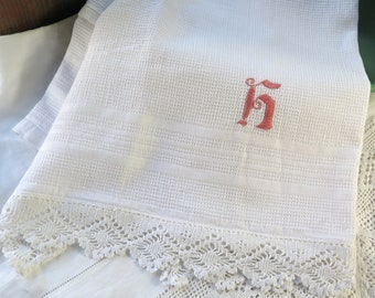 """Vintage Cotton Hand Towel In White Waffle Weave with Monogram H 32"""" x 22"""""""