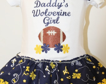 Michigan, Michigan Wolverines, Wolverine, baby girl, baby girl clothes, bodysuit, football, baby shower gift, new baby gift, baby girl gift