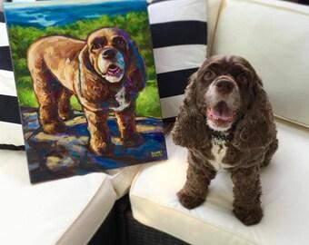 "16"" by 20"" CUSTOM PET PORTRAIT by Robert Phelps--Custom Dog Art, Custom Dog Portrait, Custom Cat Art, Custom Cat Portrait, Colorful Dog Art"