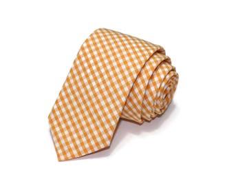 Orange Gingham Necktie~Anniversary Gift~Wedding Tie~Boys Necktie~Mens Necktie~Wedding~Mens Tie~Boys Tie~Mens Gift~Orange Tie~Orange Necktie