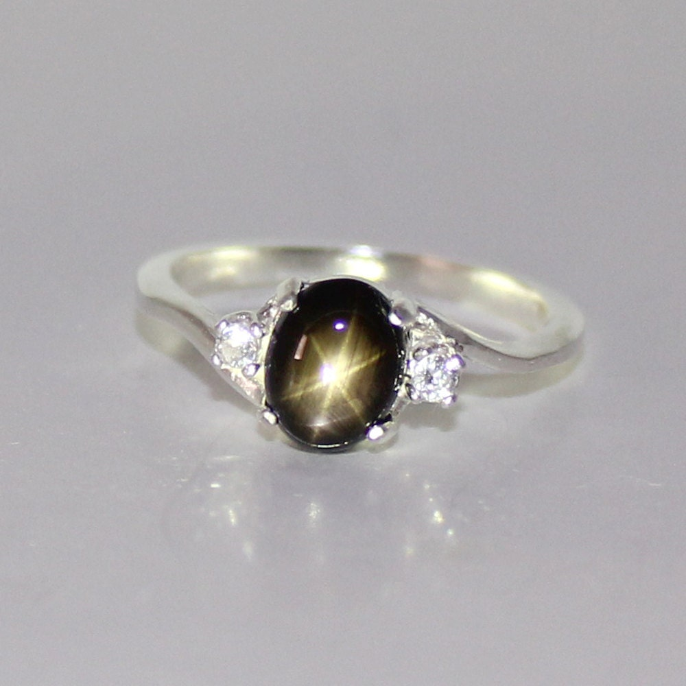 Unique Natural Black Star Sapphire Ring Sterling Silver September LY21