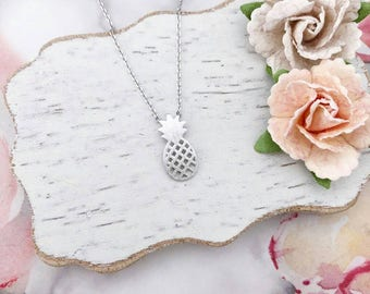 Silver Pineapple Dainty Necklace