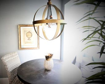 Large Brass Sphere Pendant with 5 bulbs FREE SHIPPING