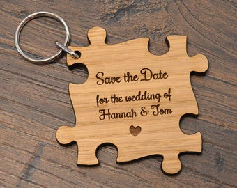 Deluxe Oak Wooden Jigsaw Puzzle Piece Shaped Wedding Save The Date Invitations
