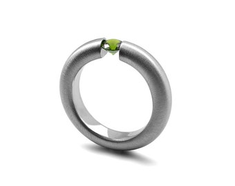 Peridot Tension Set Ring Brushed Stainless Steel