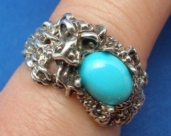 Turquoise Dragon Ring, December birthstone, Hand Crafted Recycled Sterling Silver, handmade Chinese style dragon ring band