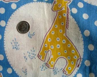 Vintage NOVELTY Feedsack Fabric: Juvenile Nursery Animals on Blue with Polka Dots // 34 x 44