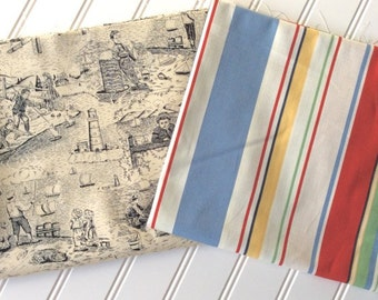 Peter-Pan-Fabrics-Beach-Scene-Black-Toile-Michael-Miller-Primary-Stripes-Marcus-Brothers-Red-Gingham-Cotton-Fabric-By-The-Yard-Sewing-Bundle