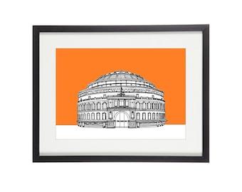 Royal Albert Hall Print | London Print | London Prints | London Illustration | City Prints | Architectural Print | Architectural Drawing
