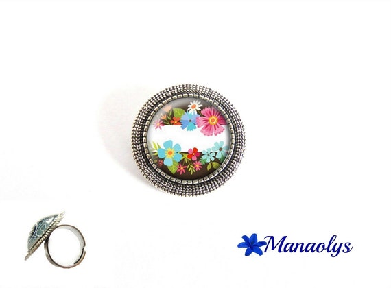 Colorful flowers, colorful ring, Adjustable ring, round ring antique silver round cabochon glass 225