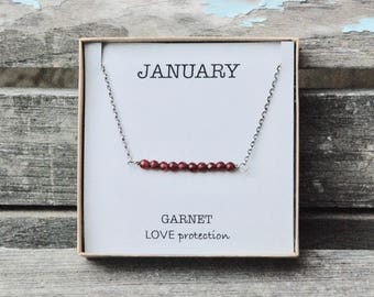JANUARY Birthstone Necklace. Sterling Silver. Faceted Garnets. Love Protection Red Gemstone Jewelry. Valentines day gift. Birthday gift.