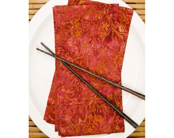 "20"" Napkins -Burnt Red Batik - Set of 2 - cloth napkins - fabric napkins - batik napkins - hostess gift - dinner napkins - Rust napkins"
