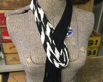 Plain Jersey Scarf - Black/Soft White
