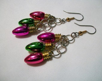 Christmas Light Bulb Earrings, Cluster Earrings, Christmas Earrings, multi colored earrings