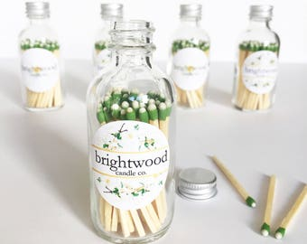 Apothecary match bottle | colored matches | matches in a jar | hostess gift | match bottle