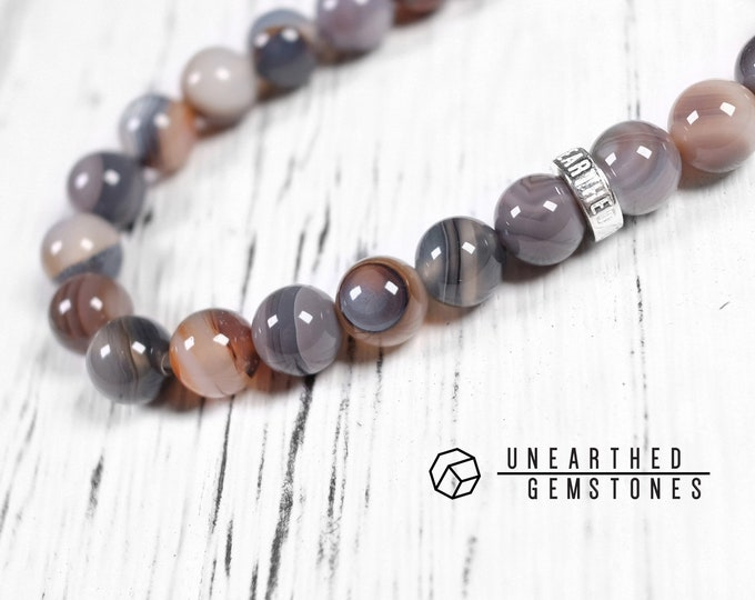 Grey Brown Agate Bracelet