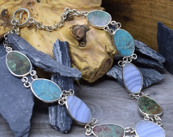 Vintage Whitney Kelly Sterling Silver/Turquoise/Blue Lace Agate/Chrysocolla Rolo Chain Necklace With Toggle Clasp