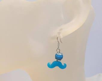 Dangle earrings neon blue MUSTACHE
