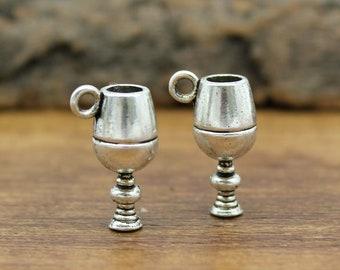 15pcs Goblet Charms, Antique Silver Wine Glass Charm pendants 3D 20x12mm C1721-Y