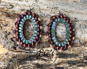 Hex Delica Earrings with Czech Beads