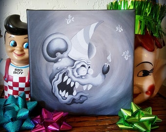 Birthday Fink - Blow Yer Nose - Original Rat Fink Canvas Art Print - FREE U.S. SHIPPING - Licensed - Ed Big Daddy Roth