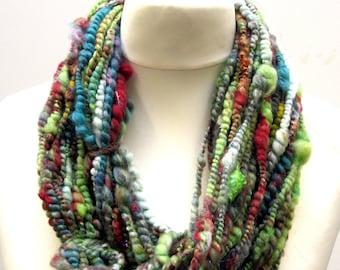 Handspun Yarn Dyed Merino Wool Silk & Sparkle Corespun 82g