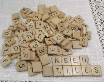 100 Vintage Assorted Scrabble Letter Tiles, Wooden Letters, Game Pieces all from One Game, Craft Tiles