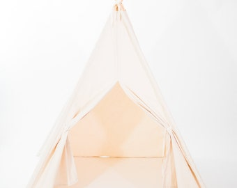 Organic Canvas Kids Teepee Play Tent, Two Sizes, Custom Order, Certified Organic Canvas, No Flame Retardants or Chemical Treatments