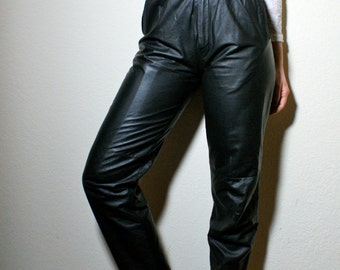 Retro High Waisted Black Leather Skinny Ankle Grunge Moto Trouser Pants XS 24