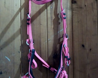 PINK Biothane  bridle  bitless sidepull cob and full sizes with reins