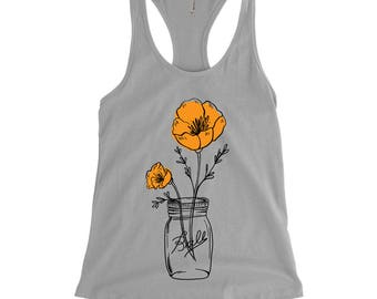 California Poppy Mason Jar Racer-Back Tank, State Flower, Wildflower Tank