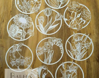 10 x Paper flowers template bundle | Papercutting Template | by Babees Boutique Papercutting | Personal & Commercial use