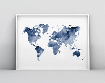 Navy world map etsy blue world map printable indigo map print navy map poster abstract world map gumiabroncs Image collections