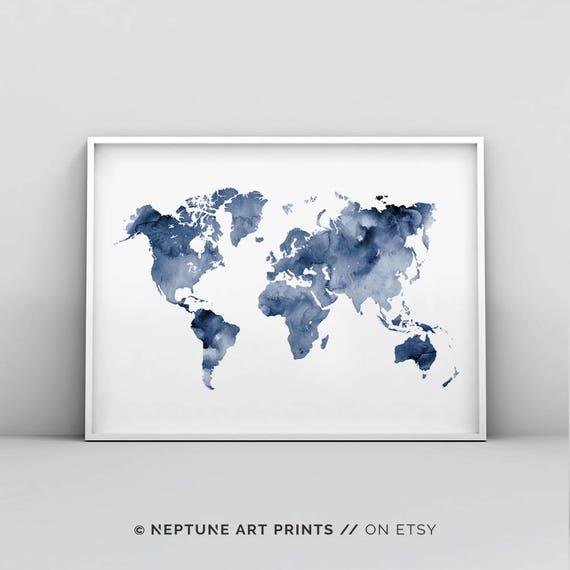 Blue world map printable indigo map print navy map poster gumiabroncs Gallery