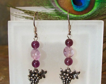 Earrings: Amethyst Beads with Grape Bunch Charms ~ Purple, Wine, Sterling Silver French Hook Earrings